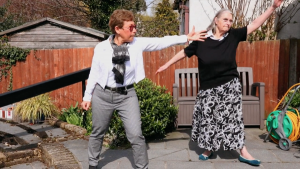 Ruth and Hilary exercising in the garden